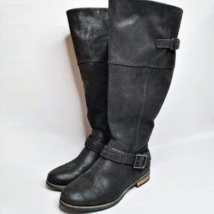 Torrid Wide Calf Black Moto Suede Knee High Boots